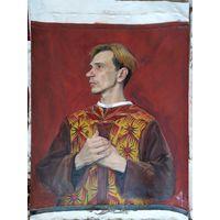 Ренессансный портрет на красном фоне
