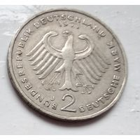 """Германия 2 марки, 1971 """"J"""" - Гамбург Конрад Аденауэр, 1-3-2"""