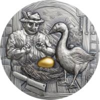 """Палау 10 долларов 2020г. """"Гусыня, несущая золотые яйца. Басни и пословицы"""". Монета в капсуле; подарочном футляре; номерной сертификат; коробка. СЕРЕБРО 62,20гр.(2 oz)."""