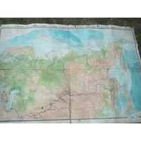 СССР Физическая карта.1960 год.Масштаб 1:5000000. Длина 200 см,Высота 135 см.