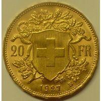 20 франков 1927 г Швейцария
