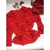 Блуза красная винтаж 70-е гг р-р 48-50