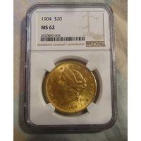 20 долларов США 1904 ngc ms62