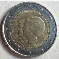"Нидерланды, 2 евро 2013. Юбилейная ""Коронация Короля Виллема-Александра"""