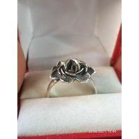 """Кольцо серебро, """"Роза"""", чернение. AG 925 проба, с футляром."""