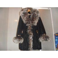 Коллекционное пальто с чернобуркой и кроликовой подстёжкой