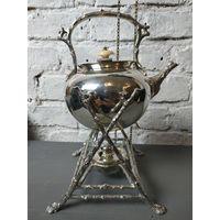 Бульотка чайник с подогревом горелка в комплекте Бульетка глубокое серебрение Англия 2л Клейма кость
