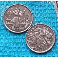 Эфиопия 25 центов. UNC. Лев. Инвестируй выгодно в монеты планеты!