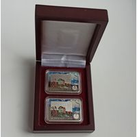 Фердинанд Рущиц. 150 лет, футляр для комплекта монет номиналами 1 и 20 рублей бордовый ложемент
