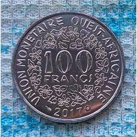Западная Африка 100 франков 2017 года. UNC. Бенин, Буркина-Фасо, Гвинея-Бисау, Кот-д'Ивуар, Мали, Нигер, Сенегал. Инвестируй в коллекционирование!