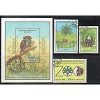 Обезьяны Зоопарк Мадагаскар 1988 год серия из 1 блока и 3-х марок