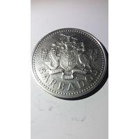 Барбадос 5 долларов 1973 серебро
