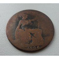 1/2 пенни Великобритания 1904 г.в.,KM# 793.2, 1/2 PENNY,  из коллекции