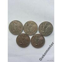 1 крона 1922, 23, 24, 37, 38 гг,Чехословакия