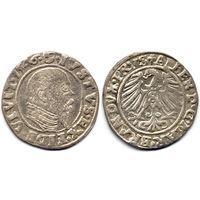 Грош 1546, Пруссия, Альберт Гогенцоллерн, Крулевец. Более редкий год, портрет с длинной клиновидной бородой, высокий воротник. Коллекционное состояние, R1!