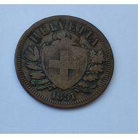 Швейцария 2 раппена, 1851 7-5-35