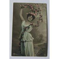 Открытка дореволюционная художественное фото женский портрет вид 2