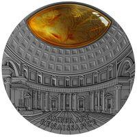 "Ниуэ 5 долларов 2017г. Янтарное  искусство: ""Ренессанс"". Монета в капсуле; деревянном подарочном футляре; сертификат; коробка. СЕРЕБРО 62,20гр.(2 oz)."