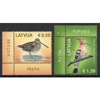 Птицы Латвия 2014 год 2 чистых марки