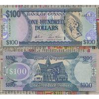 "Распродажа коллекции. Гайана. 100 долларов 2006 года (P-36a - 2006-2019 ND ""Modified Plate"" Issue)"