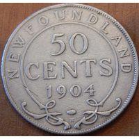 25. Ньюфаундлен 50 центов 1904 год, серебро*
