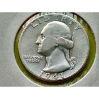 США. 25 центов (квотер, 1/4 доллара) 1941 б/б (в холдере), серебро, Washington Quarter, без отметки монетного двора.