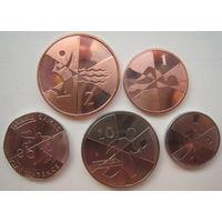 Гибралтар 1, 2, 5, 10, 20 пенсов 2019 г. XVIII Островные Игры. 5 монет