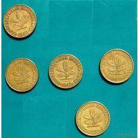 Германия (ФРГ), 10 пфеннигов 1950 (F), 1981 (G), 1989 (F), 1990 (D)