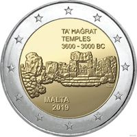 2 евро 2019 Мальта Храмы Та Хаджрат UNC из ролла