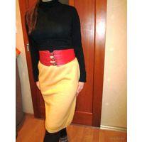 Моделька  вязаная тёплая юбка для хорошенькой девочки ЗОЛОТИСТОГО цвета р.44-46