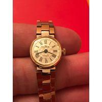 Часы наручные Чайка 17 камней с родным браслетом позолота AU.