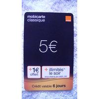 Францыя телефонная карточка 5 евро.(mobikarte classigue) . распродажа