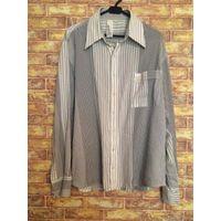 Классная мужская рубашка на +-50 размер. Красивая рубашка в стильную полоску, хлопок и эластан. Б/у, в нормальном состоянии. Длина 77 см, ПОгруди 61 см, длина рукава 66 см.