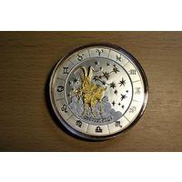 Козерог серебро 999 пробы, 3 унции, 93,3 грамма, часть монеты покрыта золотом, 4 алмаза в бриллиантовой огранке. эмитент Руанда, изготовитель Германия
