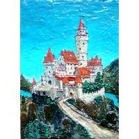 "Картина/барельеф на картоне - ""Замок в горах"""