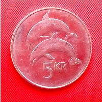 55-22 Исландия, 5 крон 2008 г. Единственное предложение монеты данного года на АУ