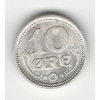 Дания 10 оре 1917 года. Серебро. Буквы VBP; GJ. Краузе KM# 818.1. Состояние UNC!