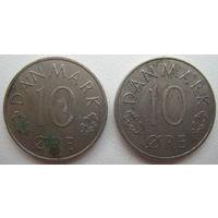 Дания 10 эре 1981, 1985 гг. Цена за 1 шт. (g)