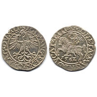 Полугрош 1562, Жигимонт Август, Вильно. Ав: окончание легенды - LI, Рв: хвост Погони вниз, окончание легенды - LITVA