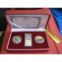 Памятный набор медалей в позолоте EXPO 2010 Shanghai China с сертификатом в футляре.