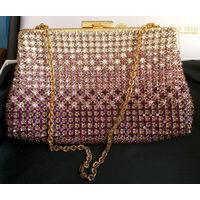 Клатч, кошелёк, сумочка, косметичка винтаж. Чехословакия. Стекло-стразы.
