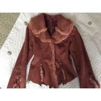 Пальто с мехом кролика 42 размер
