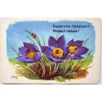 Календарик Цветы Аэрофлот 1984 год