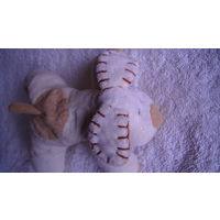 Собачка плюшевая. цвет бело-кофейный. распродажа