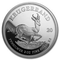"ЮАР 2 рэндa 2020г. ""Крюгеррэнд"". Proof. Монета в капсуле; подарочном футляре; номерной сертификат; коробка. СЕРЕБРО 62,238гр. (2 oz)."