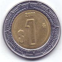 Мексика,  1 песо 2001 года.