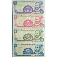 Никарагуа 1, 5, 10, 25 сентаво UNC (все номера заканчиваются на 919
