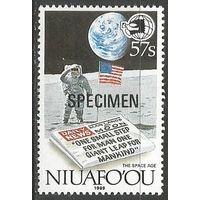 Ниуафооу. Н.Амстронг- первый человек на Луне. 1989г. Mi#153.