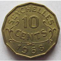 Сейшелы 10 центов 1968 - редкая, состояние!