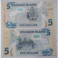 Соломоновы острова 5 долларов 2019 год UNC полимерная.